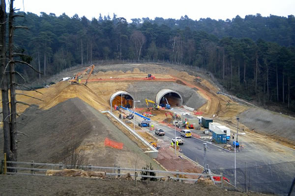 The tunnels under construction