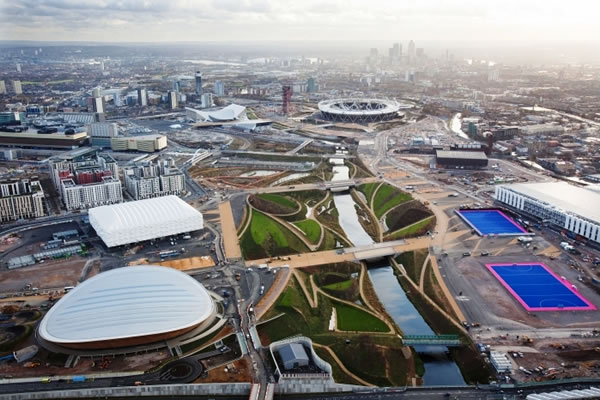 Aerial view of the Olympics Park