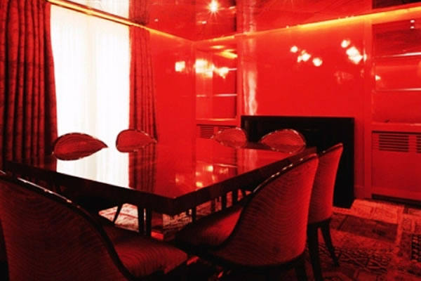 Red-lit room